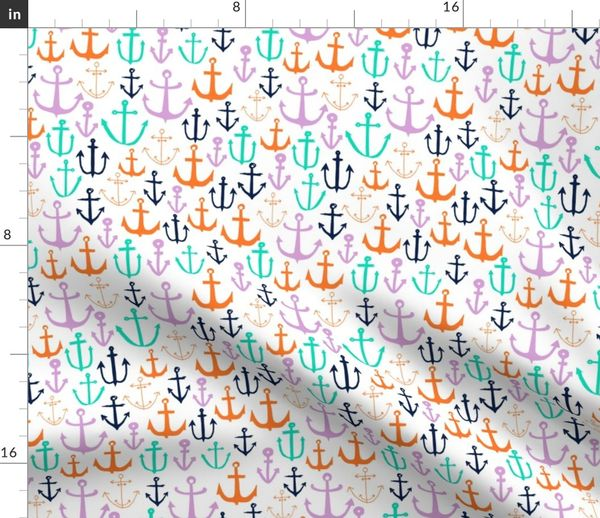 Fabric by the Yard anchors // nautical fabric anchor fabric cute baby  anchor design andrea lauren fabric