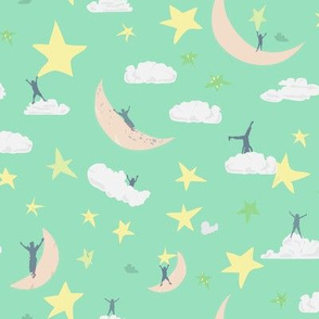 Celestial kids Mint Green    Sky Clouds Blue Moon Stars Yellow White Cream Navy Royal Blue by Miss Chiff Designs outerspace