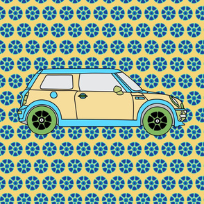 "54"" Panel Cute Car on Abstract Floral _Miss Chiff Designs"
