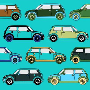 Cute Cars on Teal _ Miss Chiff Designs