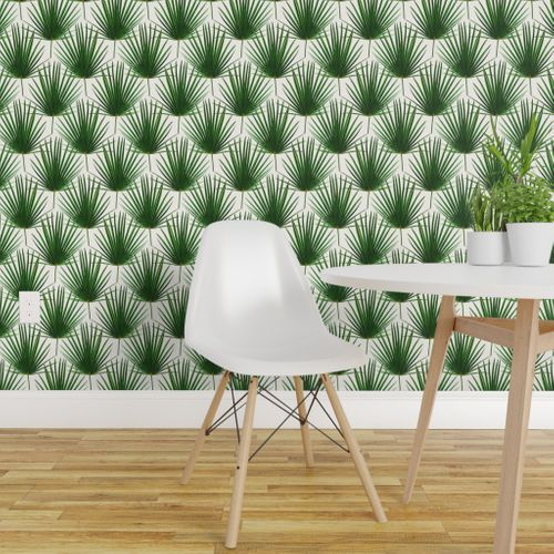 Miraculous Wallpaper Simple Palm Leaf Geometry Green And Cream Small Print Machost Co Dining Chair Design Ideas Machostcouk