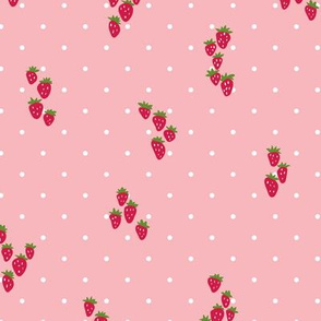 Wild strawberries in vintage pink and white dots