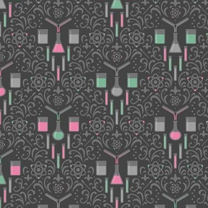 Mad Science Damask (Pink and Mint)