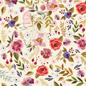 Vintage wildflowers on Cream