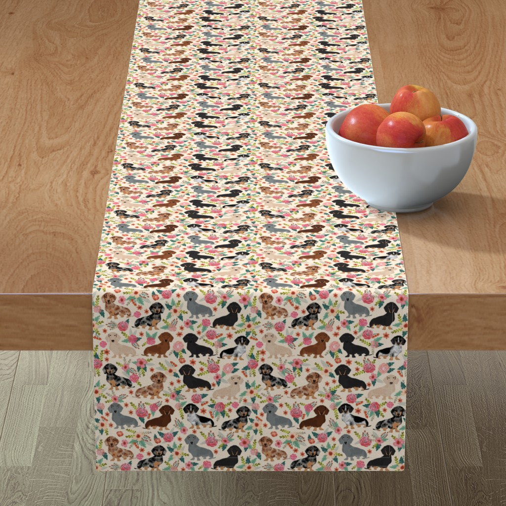 Minorca Table Runner featuring dachshund floral vintage flowers doxie fabric doxie dachshunds design cute doxie dog by petfriendly