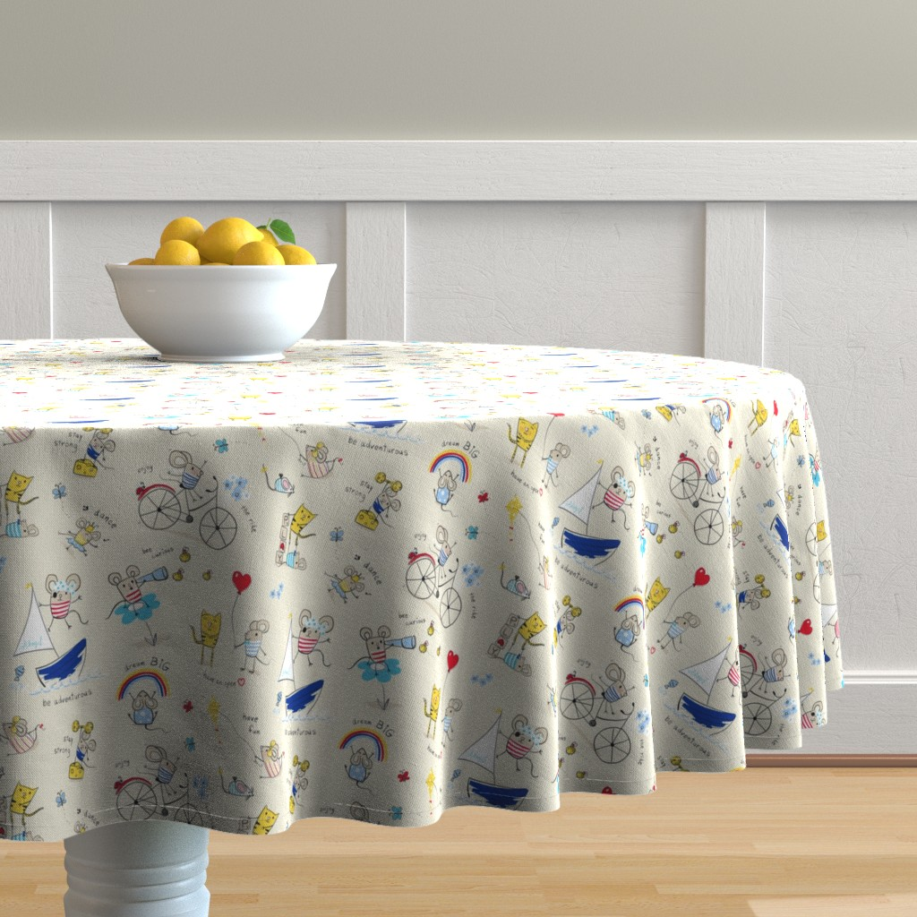 Malay Round Tablecloth featuring Mice Messages by designed_by_debby