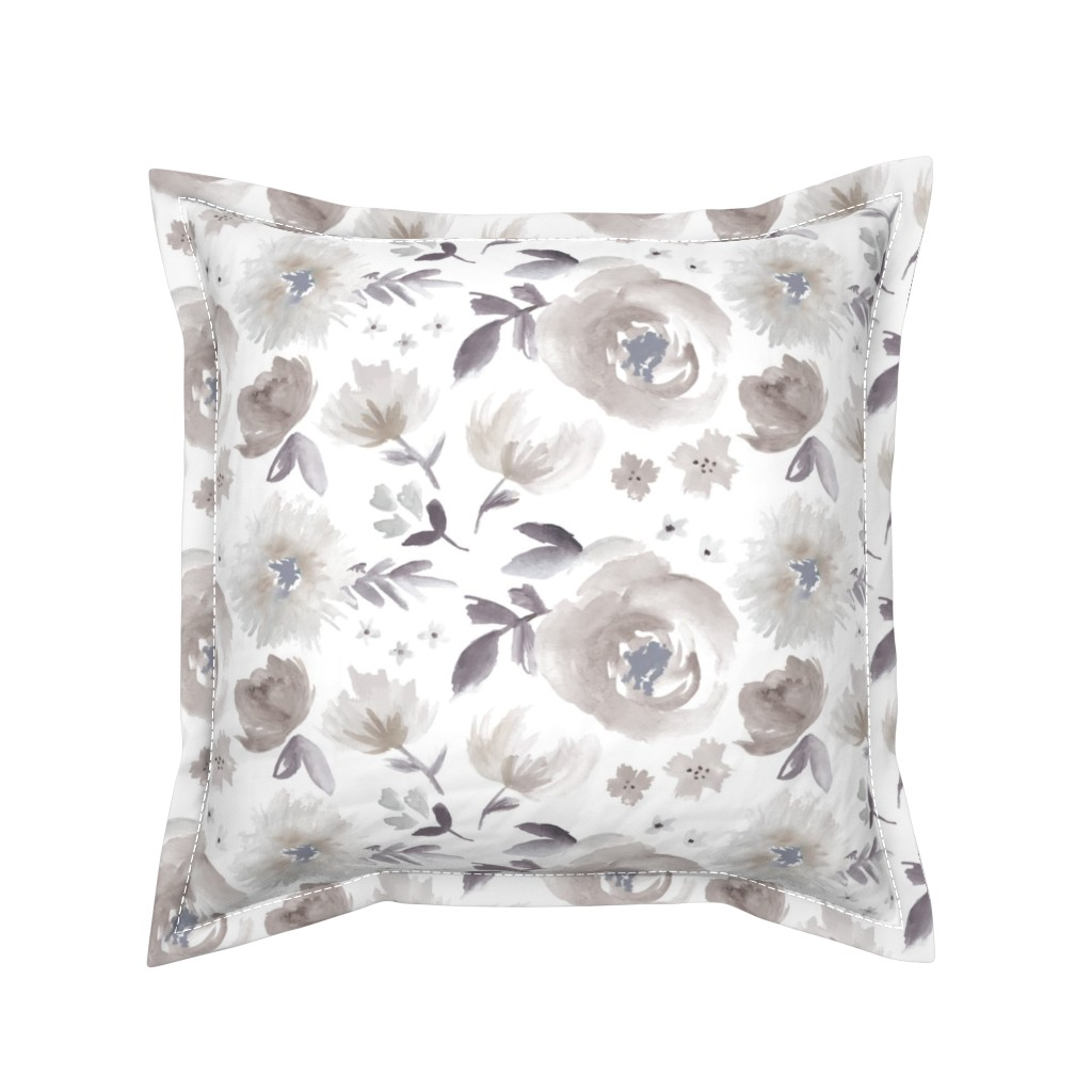 Serama Throw Pillow featuring Peony Garden in Blue Gray Watercolor Floral by sugarfresh