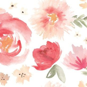 Peony Garden in Peach Watercolor Floral