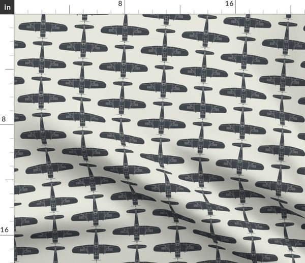 F4u Corsair Fighter Sea Blue On Insign Spoonflower
