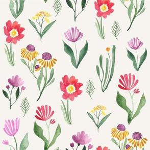 Watercolor floral study in cream