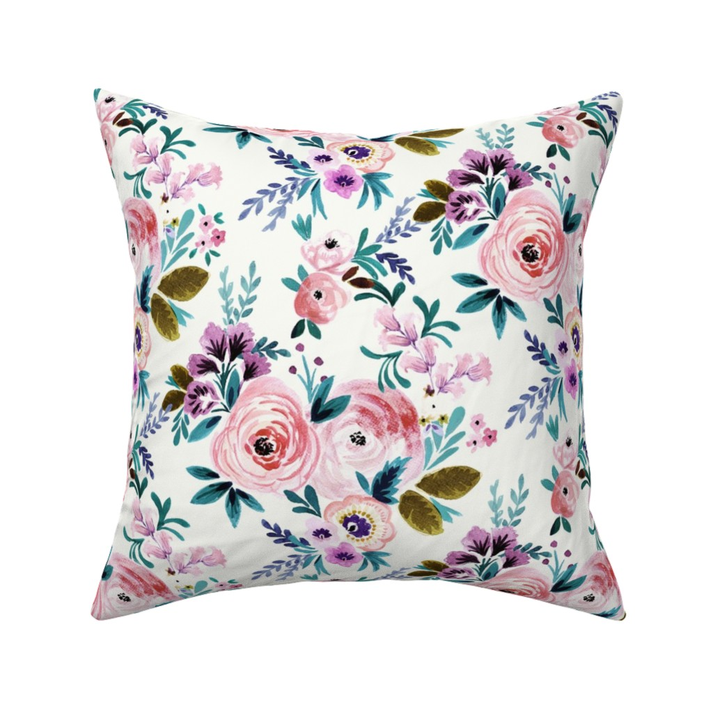 Catalan Throw Pillow featuring Victoria Floral by crystal_walen