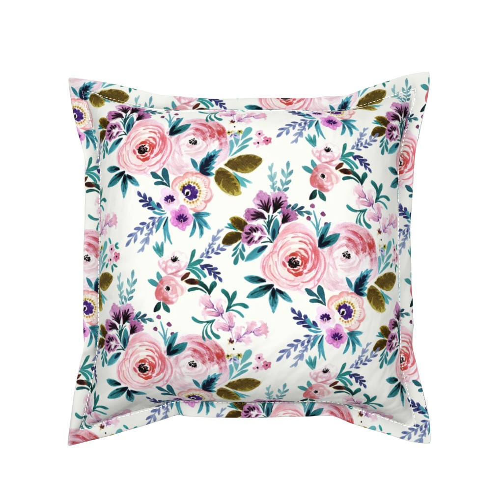 Serama Throw Pillow featuring Victoria Floral by crystal_walen