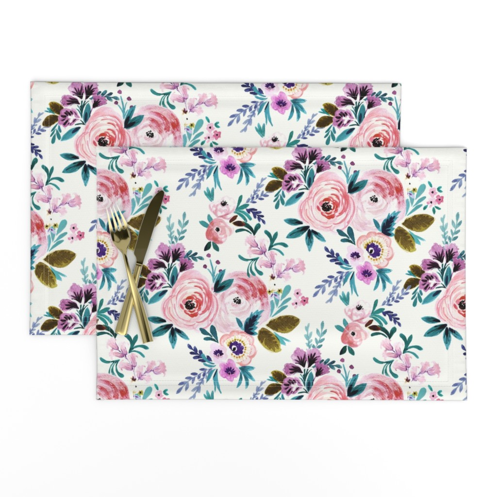 Lamona Cloth Placemats featuring Victoria Floral by crystal_walen