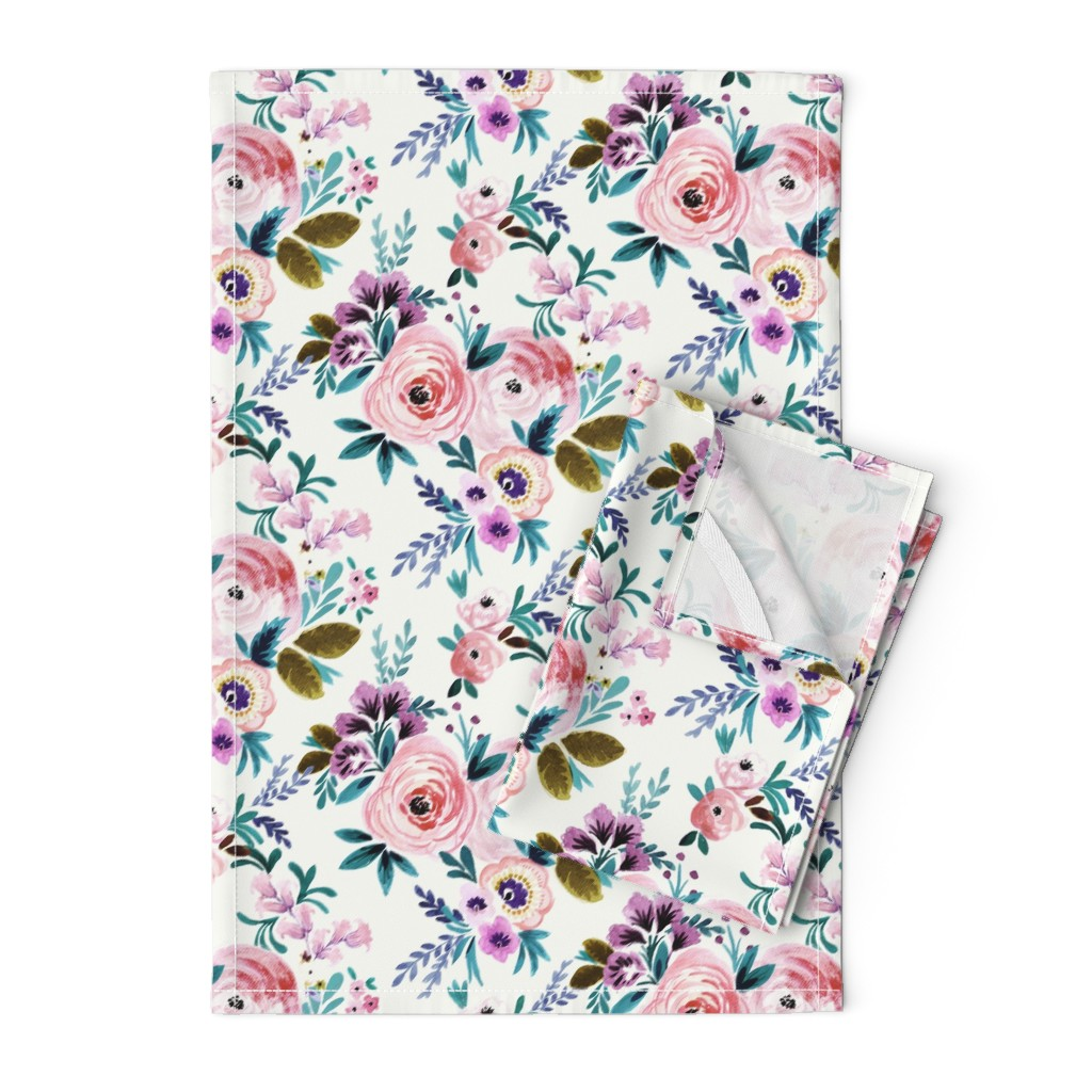 Orpington Tea Towels featuring Victoria Floral by crystal_walen