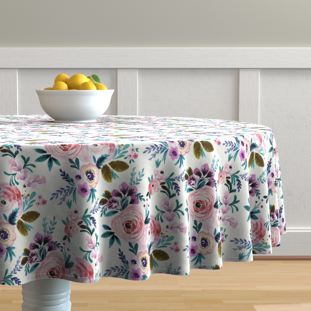 Malay Round Tablecloth featuring Victoria Floral by crystal_walen