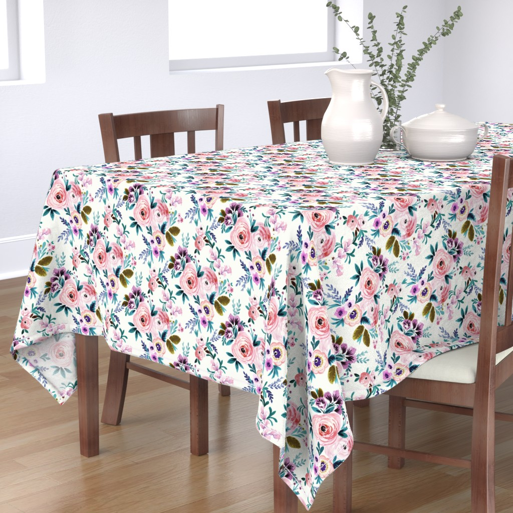 Bantam Rectangular Tablecloth featuring Victoria Floral by crystal_walen