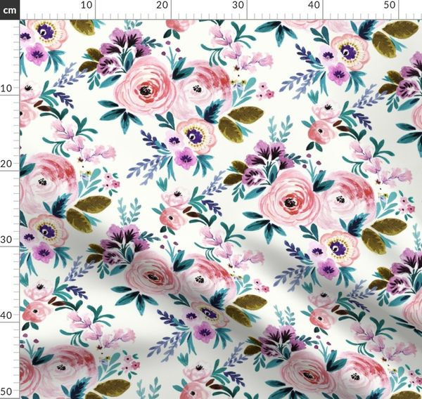 Floral Sheet Set Victoria Floral by Crystal/_Walen Modern Floral  Sheet Set  with Spoonflower Fabrics