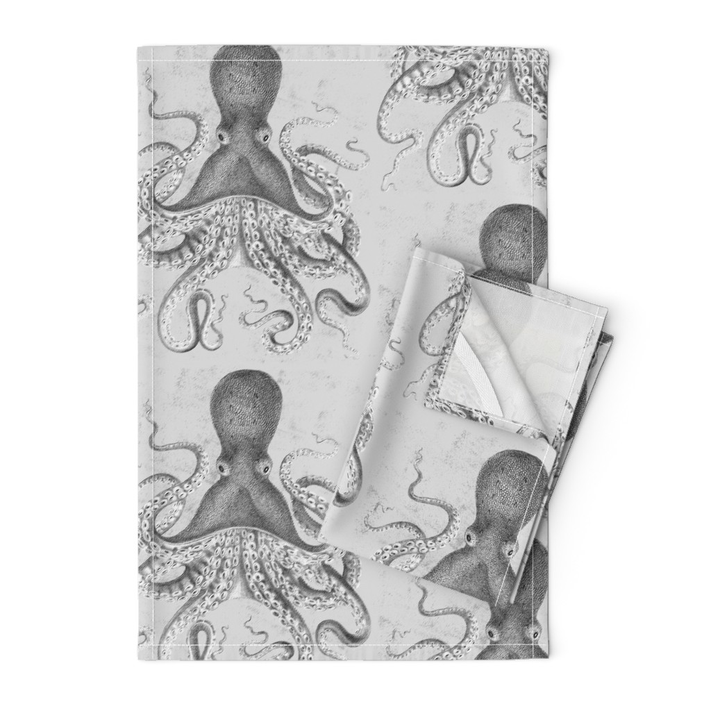 Orpington Tea Towels featuring Octopus Vintage Scientific Illustration-Ernst Haeckel Style  by magnoliacollection
