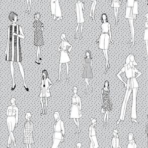 1960's Fashion - Mod Girls of the '60s   Light Grey Dot