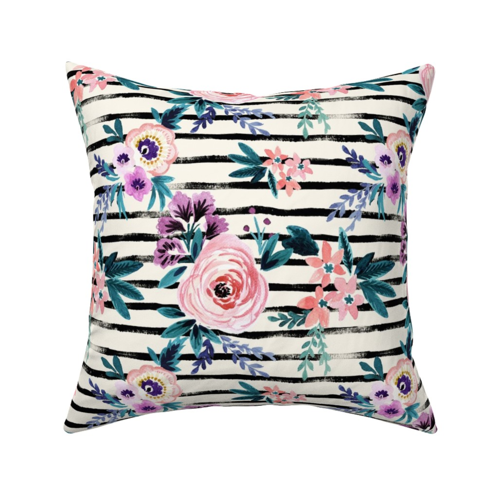 Catalan Throw Pillow featuring Victoria Floral Stripe by crystal_walen
