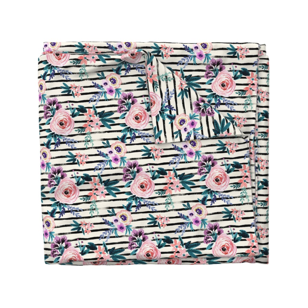 Wyandotte Duvet Cover featuring Victoria Floral Stripe by crystal_walen