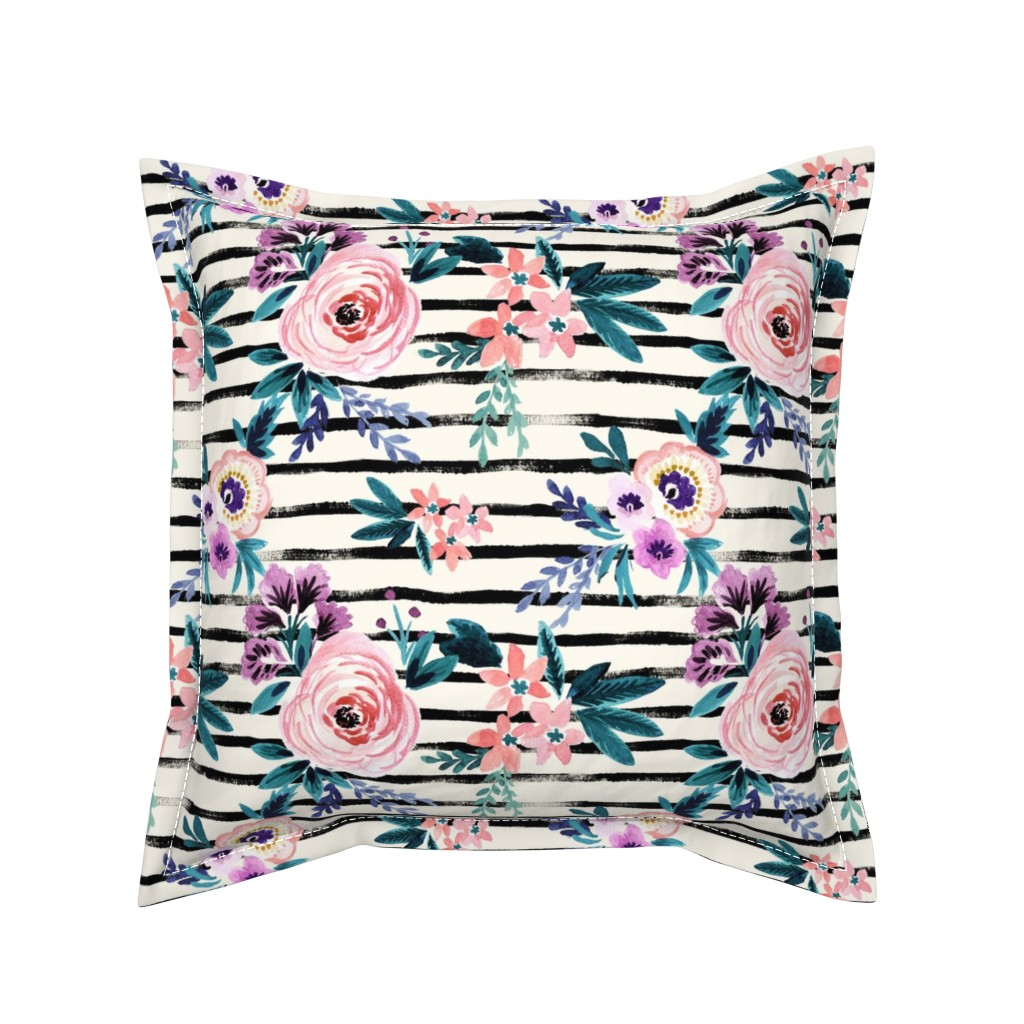 Serama Throw Pillow featuring Victoria Floral Stripe by crystal_walen