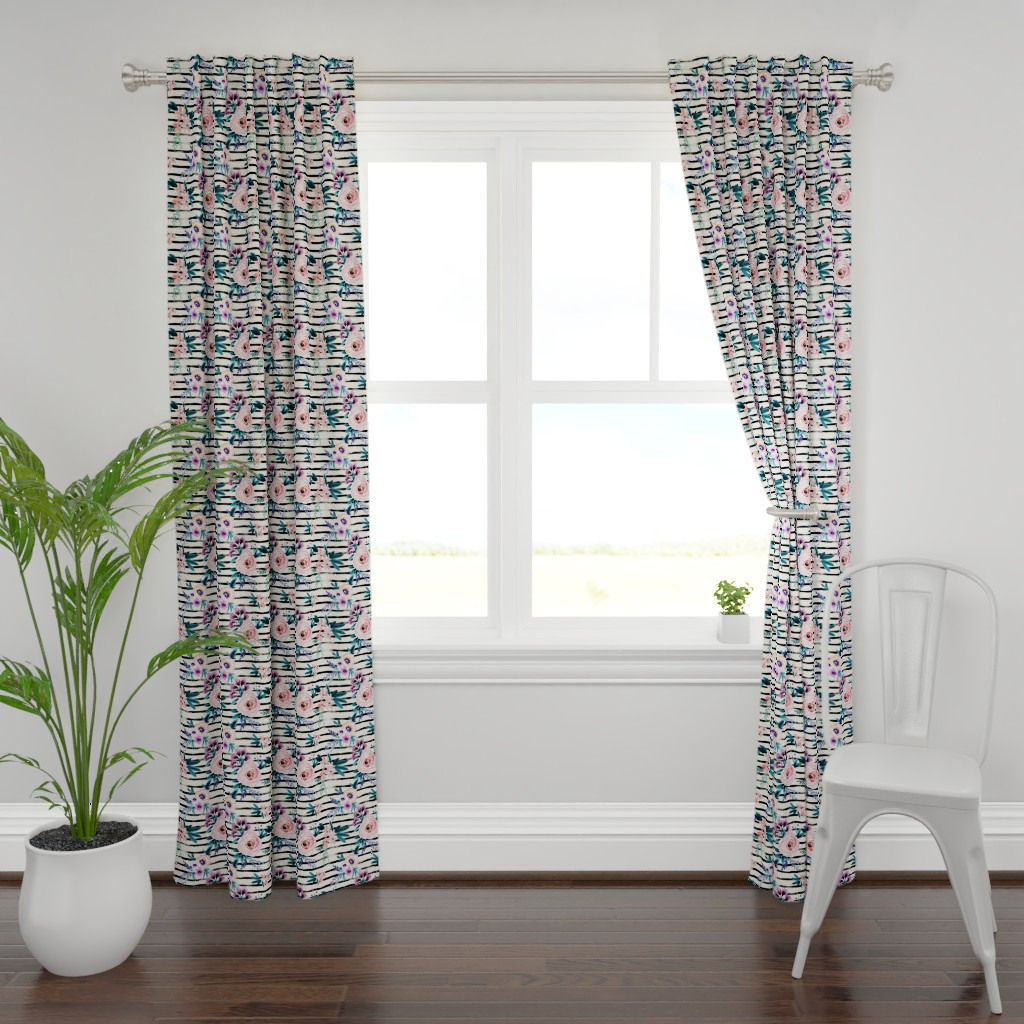 Plymouth Curtain Panel featuring Victoria Floral Stripe by crystal_walen