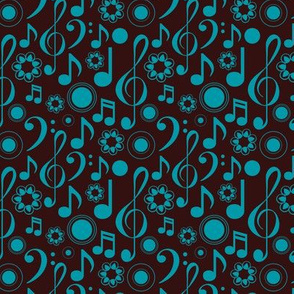 Notes and Clefs - blue and brown