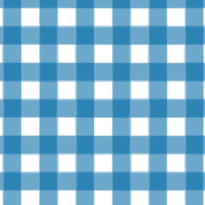 brushed wide gingham sapphire blue