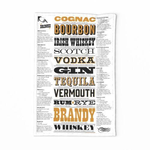 Prohibition Cocktails Tea Towel* || spirits beverage mixed drink recipe typography 20s text bar pub barroom saloon speakeasy cut and sew diy kitchen