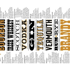 Prohibition Cocktails Tea Towel* || spirits beverage mixed drink recipe typography 20s text bar pub barroom saloon speakeasy cut and sew diy kitchen print poster wall hanging