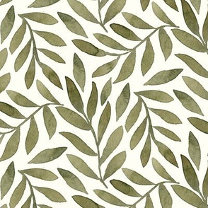 Green Leaves on Ivory