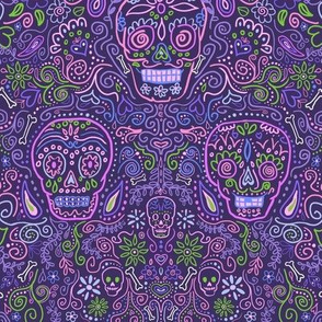 Sugar Skulls Purple