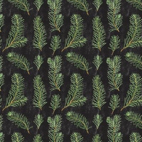 Pine Branches Pattern on Black Background