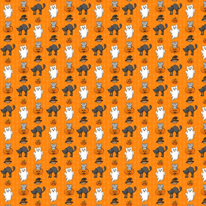 Halloween Cats Pattern Orange