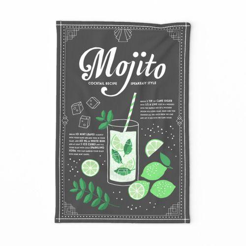 Mojito cocktail tea towel
