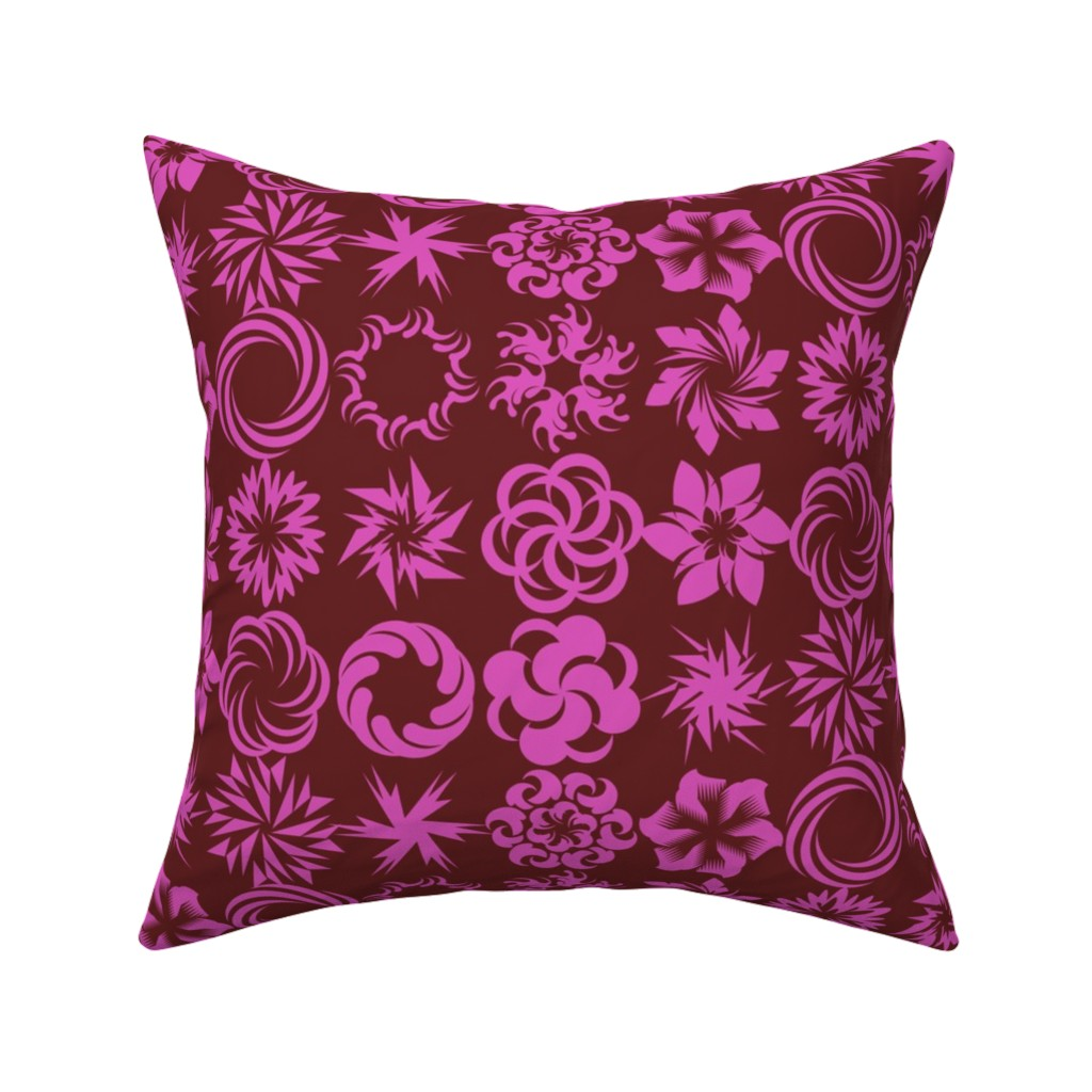 Catalan Throw Pillow featuring Pinwheel Whirligigs - Rose by zuzana_licko