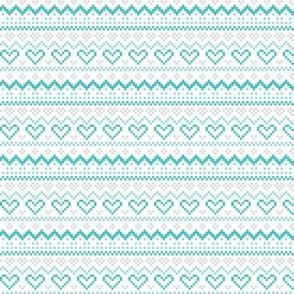 knitted teal no.1 fair isle