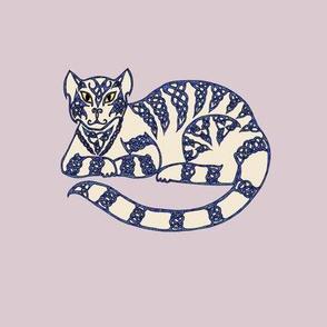 Celtic cat 5 blue on cream