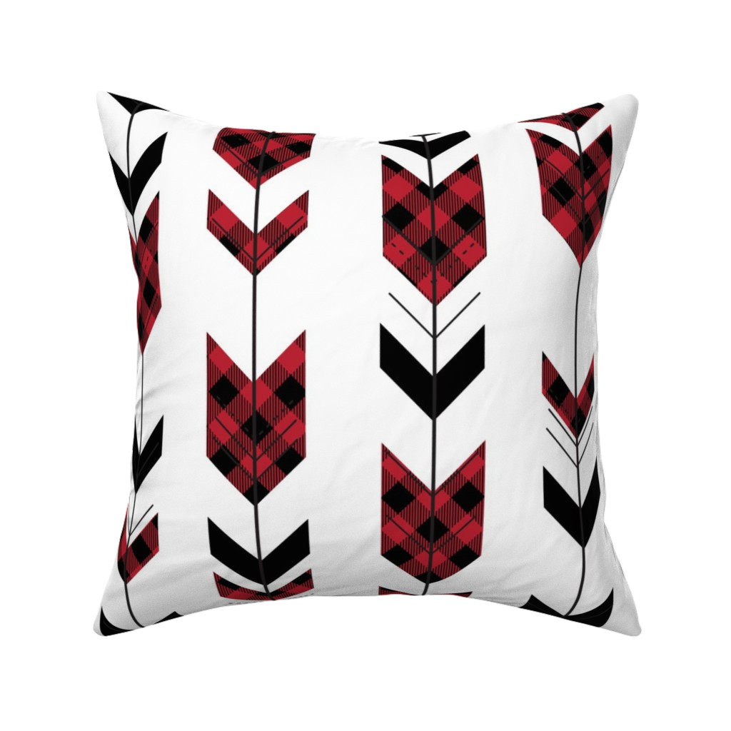 Catalan Throw Pillow featuring fletching arrows buffalo plaid || the happy camper collection by littlearrowdesign