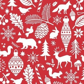 Woodland Forest Christmas Doodle with Deer,Bear,Snowflakes,Trees, Pinecone in Red