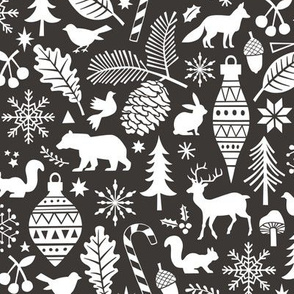 Woodland Forest Christmas Doodle with Deer,Bear,Snowflakes,Trees, Pinecone Black & White