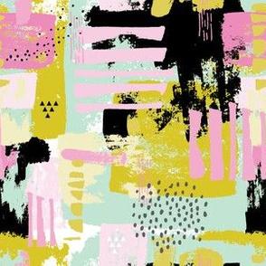 Mod Pattern in Pink Black White Gray &  Yellow