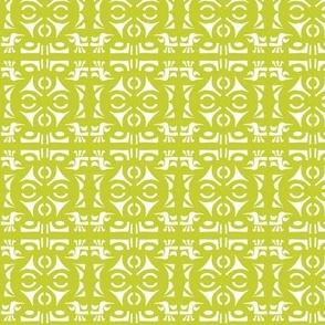 TRIBAL HORNS Chartreuse & White