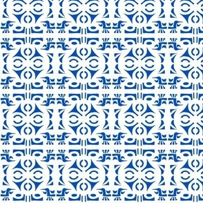TRIBAL HORNS French Blue and White