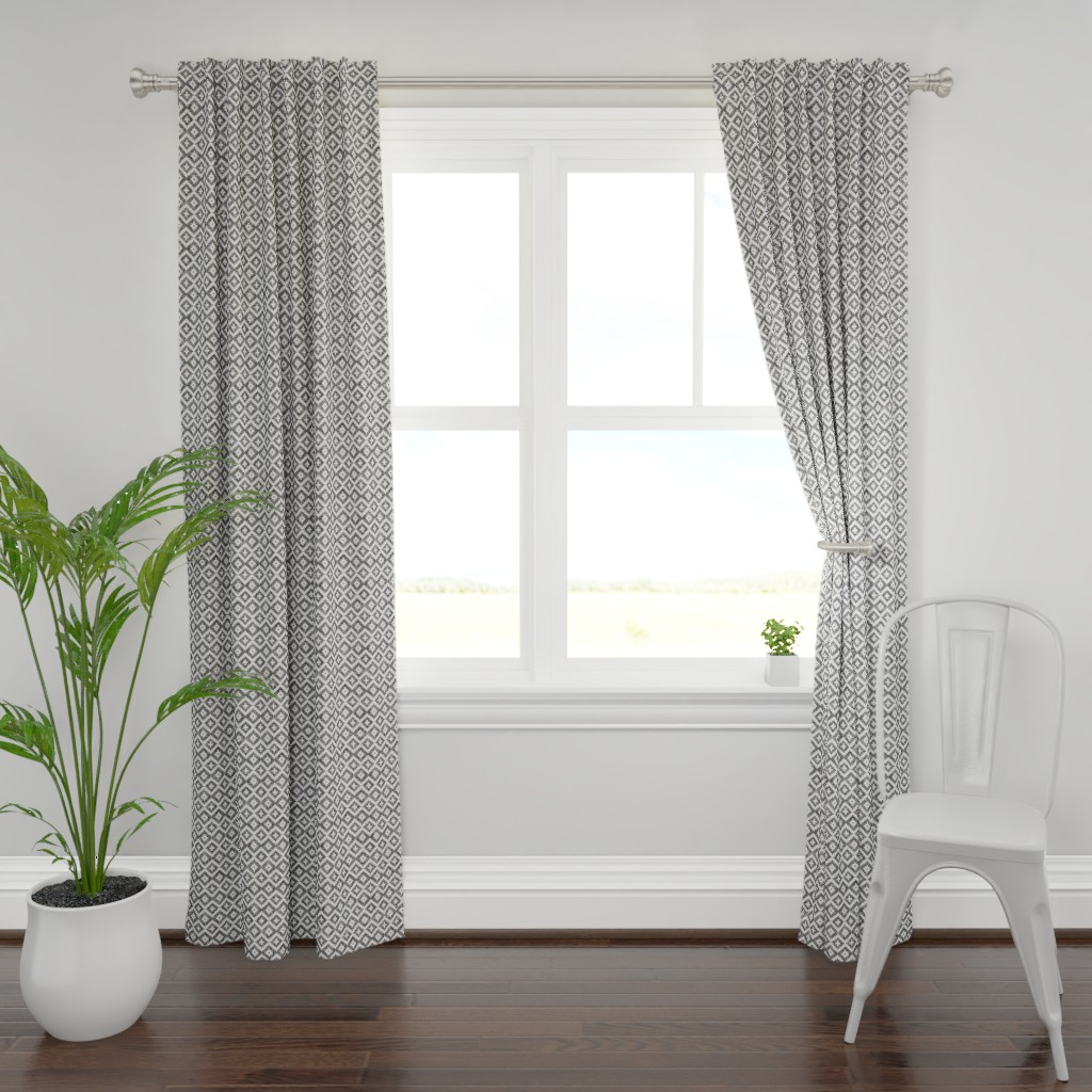 Plymouth Curtain Panel featuring woven aztec || black by littlearrowdesign