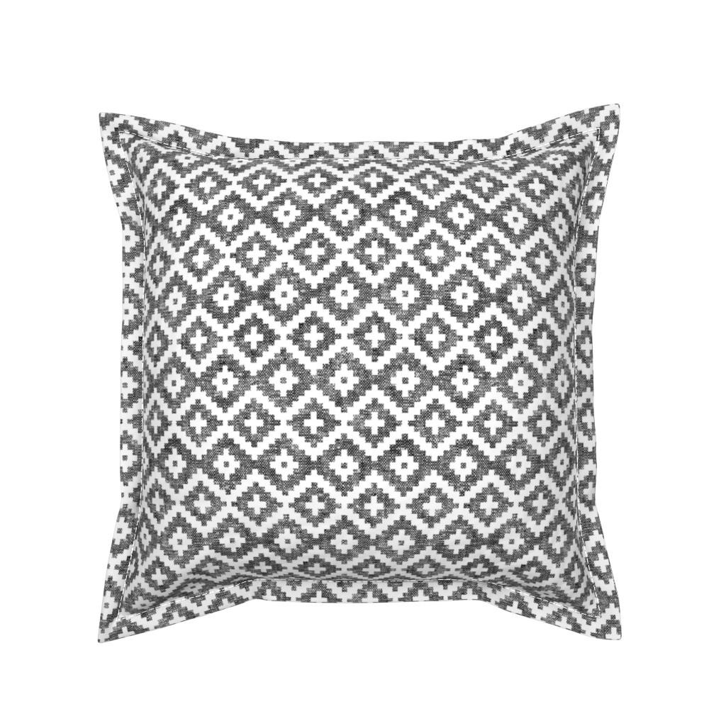 Serama Throw Pillow featuring woven aztec || black by littlearrowdesign