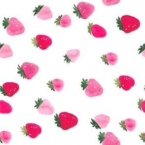 Watercolor strawberries - sideways