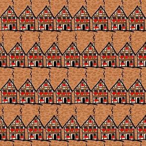 Ancient houses with geranium
