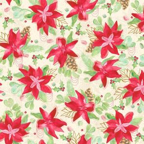Tinsel Nouveau: Poinsettias Cream
